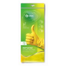 Перчатки хозяйственные латексные в инд. упаковке, пара. (Желтые. Размер S)